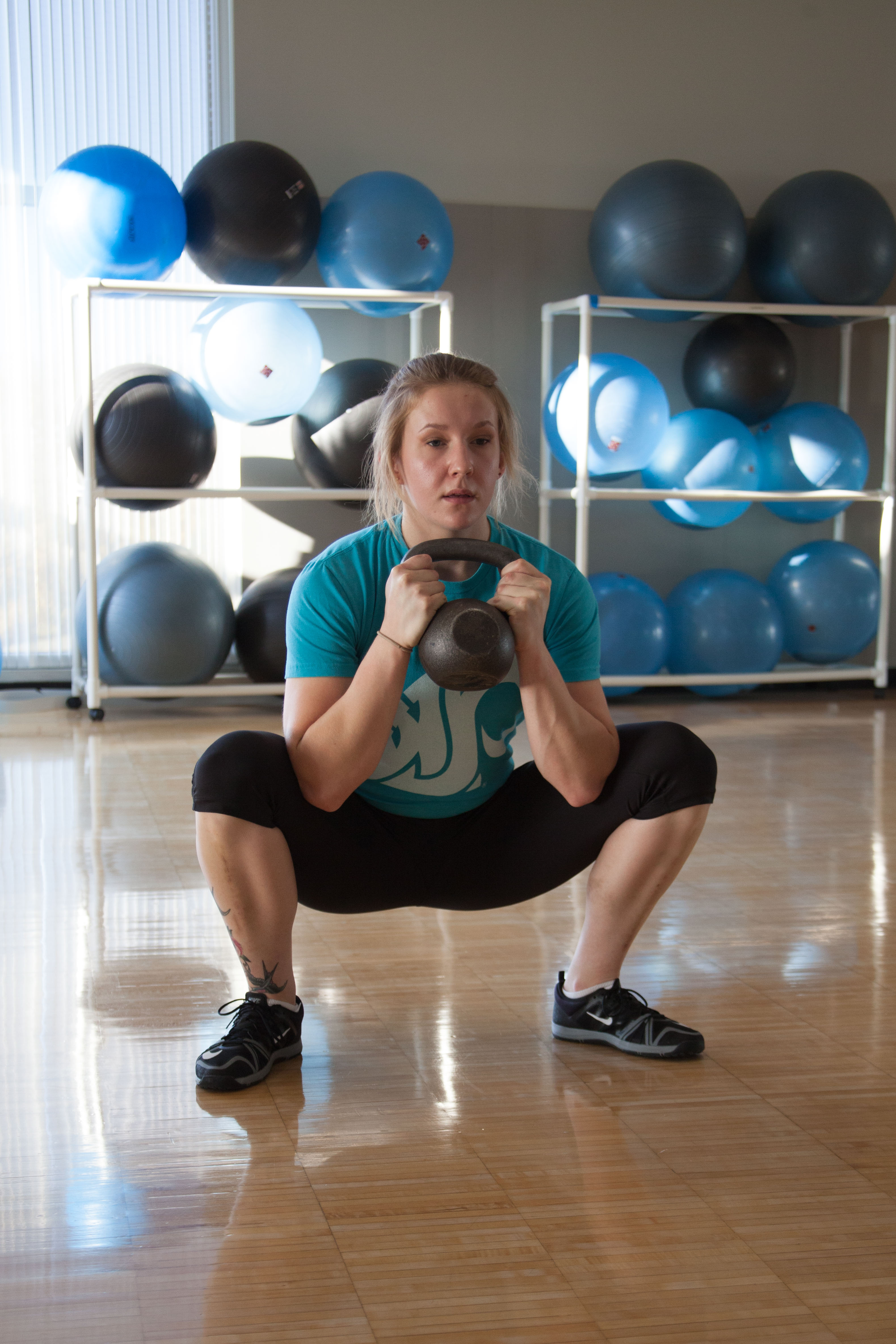 Deep Squat with Kettlebell